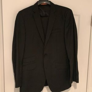 Black thin stripped suit